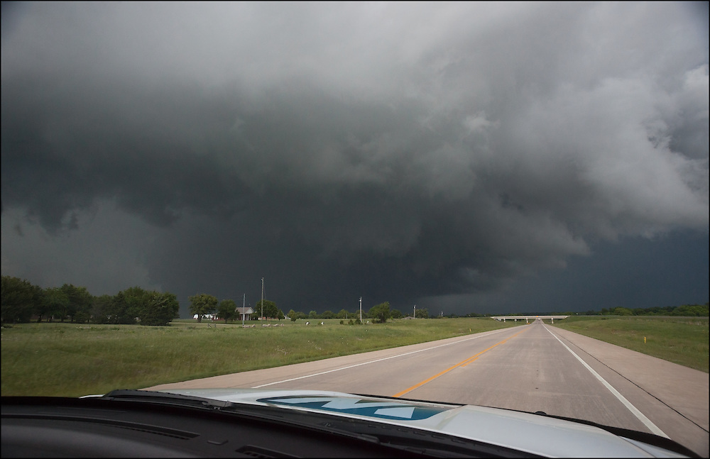Rain wrapped EF-3 tornado north of Sulphur, Oklahoma approaching the highway.