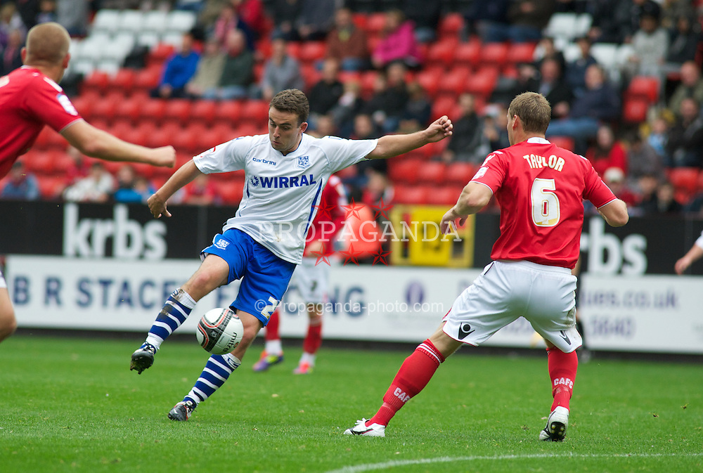 LONDON, ENGLAND - Saturday, October 8, 2011: Tranmere Rovers' Jose Baxter takes the ball past Charlton Athletic's Michael Morrison and Matt Taylor during the Football League One match at The Valley. (Pic by Gareth Davies/Propaganda)