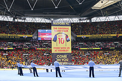 Watford banner seen before kick off - Mandatory by-line: Arron Gent/JMP - 18/05/2019 - FOOTBALL - Wembley Stadium - London, England - Manchester City v Watford - Emirates FA Cup Final