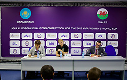 ASTANA, KAZAKHSTAN - Sunday, September 17, 2017: Wales' manager Jayne Ludlow and press officer Ben Donovan during a post-match press conference following the 1-0 victory over Kazakhstan during the FIFA Women's World Cup 2019 Qualifying Round Group 1 match between Kazakhstan and Wales at the Astana Arena. (Pic by David Rawcliffe/Propaganda)