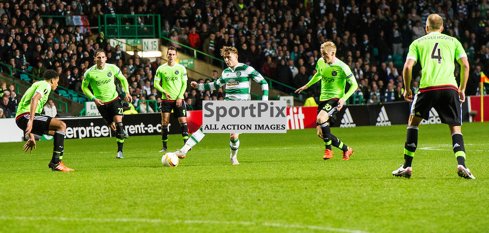 Scott Allan's options are limited as he is surrounded as Celtic host Ajax at Parkhead in the Europa League.<br /> &copy; Ger Harley/ SportPix.org.uk 26 November 2015