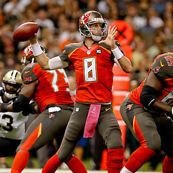 Oct 5, 2014; New Orleans, LA, USA; Tampa Bay Buccaneers quarterback Mike Glennon (8) throws against the New Orleans Saints during the first quarter of a game at Mercedes-Benz Superdome. Mandatory Credit: Derick E. Hingle-USA TODAY Sports