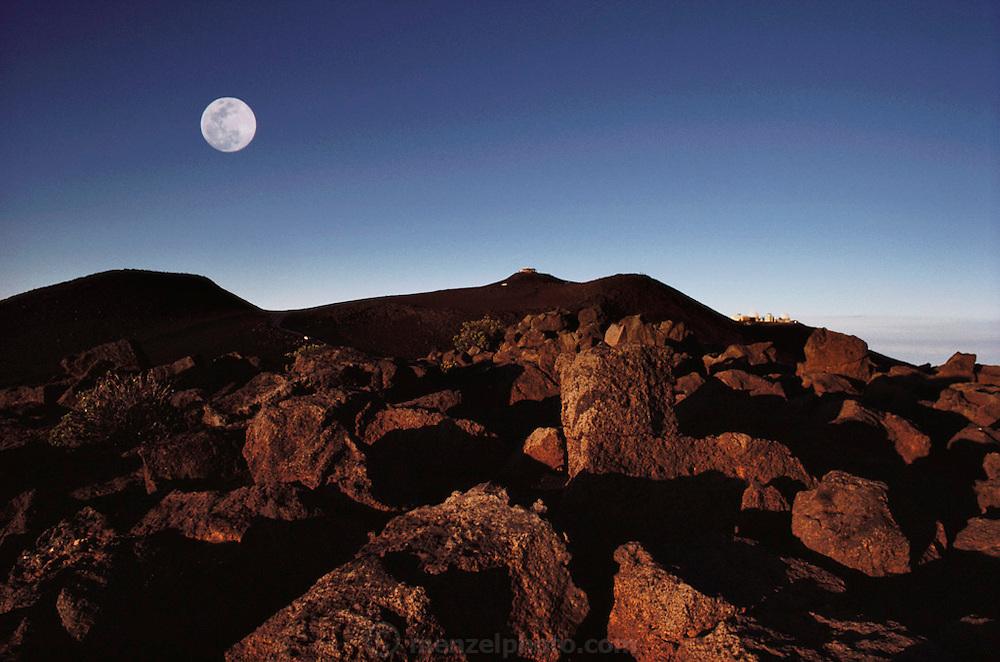 Moon over Haleakala summit. Haleakala National Park, Maui, Hawaii. USA.