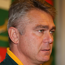 PADUA, ITALY - NOVEMBER 19: Heyneke Meyer (Head Coach) of South Africa during the South African national rugby team announcement at Petrarca, The Plaza Hotel on November 19, 2014 in Padua, Italy. (Photo by Steve Haag/Gallo Images)