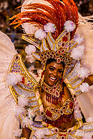 Samba dancer in the Carnaval parade of Academicos do Salgueiro samba school in the Sambadrome, Rio de Janeiro, Brazil.