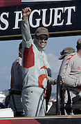 Russel Coutts does a tiumphant fist salute in celebration of Alinghi's 5 - 1 win over Oracle in the finals of the Louis Vuitton Cup. 19/1/2003 (© Chris Cameron 2003)