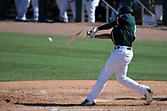 MESA, AZ - MARCH 09:  Marcus Semien #10 of the Oakland Athletics breaks hit bat during the third inning of the spring training game against the Cincinnati Reds at HoHoKam Stadium on March 9, 2017 in Mesa, Arizona.  (Photo by Jennifer Stewart/Getty Images)