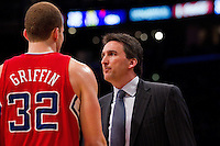 25 February 2011: Forward Blake Griffin of the Los Angeles Clippers speaks to head coach Vinny Del Negro while playing against the Los Angeles Lakers during the first half of the Lakers 108-95 victory over the Clippers at the STAPLES Center in Los Angeles, CA.
