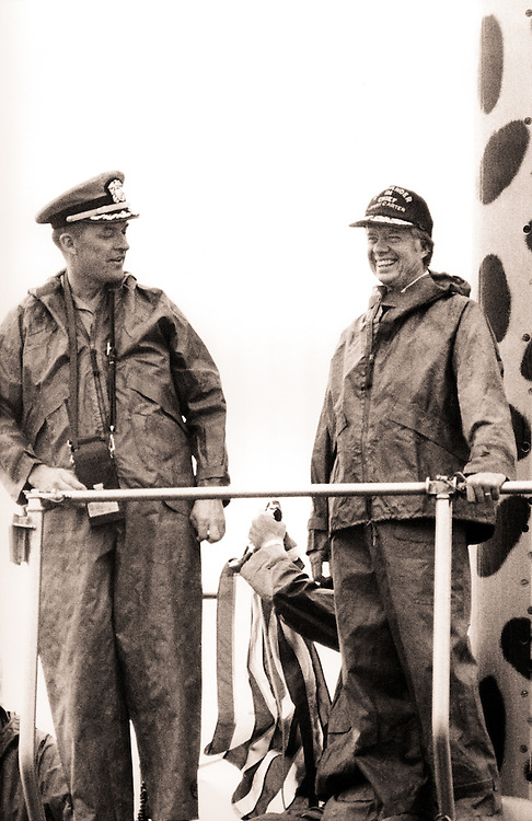 President Jimmy Carter and US Navy captain J. C. Christianson moments after surfacing in the Atlantic Ocean.