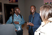 EKOW EKSHUN, George Condo: Mental States. Hayward Gallery. Southbank Rd. London. 17 October 2011. <br /> <br />  , -DO NOT ARCHIVE-© Copyright Photograph by Dafydd Jones. 248 Clapham Rd. London SW9 0PZ. Tel 0207 820 0771. www.dafjones.com.