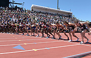 Jun 30, 2019; Stanford, CA, USA; The start of the Bowerman Mile during the 45th Prefontaine Classic at Cobb Track & Angell Field. Timothy Cheruyiot (KEN) won in 3:50.49..