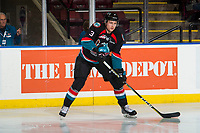 KELOWNA, CANADA - OCTOBER 13: Dalton Gally #3 of the Kelowna Rockets warms up against the Tri-City Americans  on October 13, 2018 at Prospera Place in Kelowna, British Columbia, Canada.  (Photo by Marissa Baecker/Shoot the Breeze)  *** Local Caption ***
