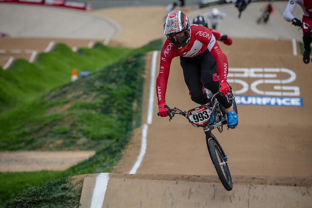 #993 (NAGASAKO Yoshitaku) JPN at Round 2 of the 2020 UCI BMX Supercross World Cup in Shepparton, Australia.