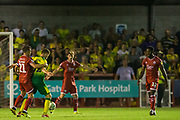 Dannie Bulman (Capt) (Crawley Town)  & Dennis Srbeny (Norwich) with Nathan Ferguson (Crawley Town)  looking on during the EFL Cup match between Crawley Town and Norwich City at The People's Pension Stadium, Crawley, England on 27 August 2019.