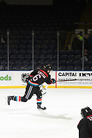 Kelowna, Canada OCTOBER 3:  Kaedan Korczak #6 of the Kelowna Rockets takes a shot during warm up against the Vancouver Giants on October 3, 2018 at Prospera Place in Kelowna, British Columbia, Canada.  (Photo by Marissa Baecker/Shoot the Breeze)  *** Local Caption ***