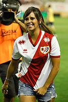 Cristina Pedroche makes the honor kick-out before Rayo Vallecano V Atletico de Madrid  2014-15 La Liga match at Vallecas stadium. August 25, 2014. (ALTERPHOTOS/Victor Blanco)
