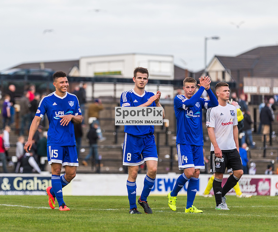 Leighton McIntosh, Jamie Redman and Kevin Dzierzawski applauds the travelling fans after the Scottish League 1 fixture between Ayr Utd and Peterhead (c) ROSS EAGLESHAM | Sportpix.co.uk
