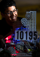 Aayush Rabadey, 16, of Team 10195 - Night Owls, a SWGHS student, works on the team's robot.<br /> <br /> High school students work on their competition robots at ECG Robotics, Inc., a non-profit robotics club which was created by the Early College at Guilford High School. The program accepts students from all over Guilford County. The organization began in 2004 with one FRC team and we have continued to grow in the FIRST Family. Our main goal is to excite students about Science, Technology, Engineering and Math and encourage them to spread the word into the community.<br /> <br /> Photographed, Friday, November 17, 2017, in Greensboro, N.C. JERRY WOLFORD and SCOTT MUTHERSBAUGH / Perfecta Visuals