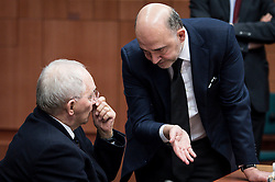 Wolfgang Schauble, German Federal Minister of Finance (L) talks with Pierre Moscovici, EU commissioner for Economic and financial affairs, taxation and customs union during an emergency Eurogroup finance ministers meeting at the European Council in Brussels, Belgium on 20.02.2015 Eurogroup head Jeroen Dijsselbloem was working overtime on February 20 to save a make-or-break meeting on Greece's demand to ease its bailout programme as Germany insisted it stick with its austerity commitments after days of sharp exchanges, the 19 eurozone finance ministers gathered for the third time in little over a week to consider Athens' take-it or leave-it proposal to extend an EU loan programme which expires this month. by Wiktor Dabkowski. EXPA Pictures © 2015, PhotoCredit: EXPA/ Photoshot/ Wiktor Dabkowski<br /> <br /> *****ATTENTION - for AUT, SLO, CRO, SRB, BIH, MAZ only*****