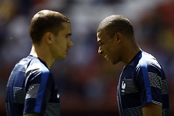 June 16, 2018 - Kazan, Kazan, Russia - Antoine Griezman (L) and Kylian Mbappe of France, during the 2018 FIFA World Cup Russia group C match between France and Australia at Kazan Arena on June 16, 2018 in Kazan, Russia. (Credit Image: © Mehdi Taamallah/NurPhoto via ZUMA Press)