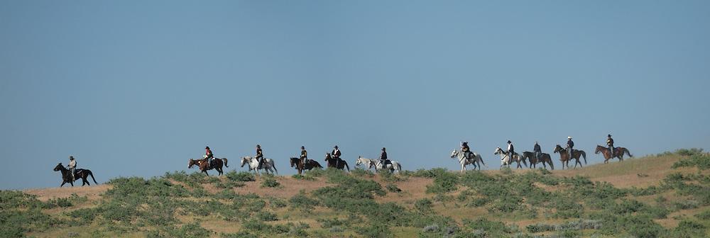 Panorama, Custer's Last Stand Reenactment, Hardin, Montana, USA