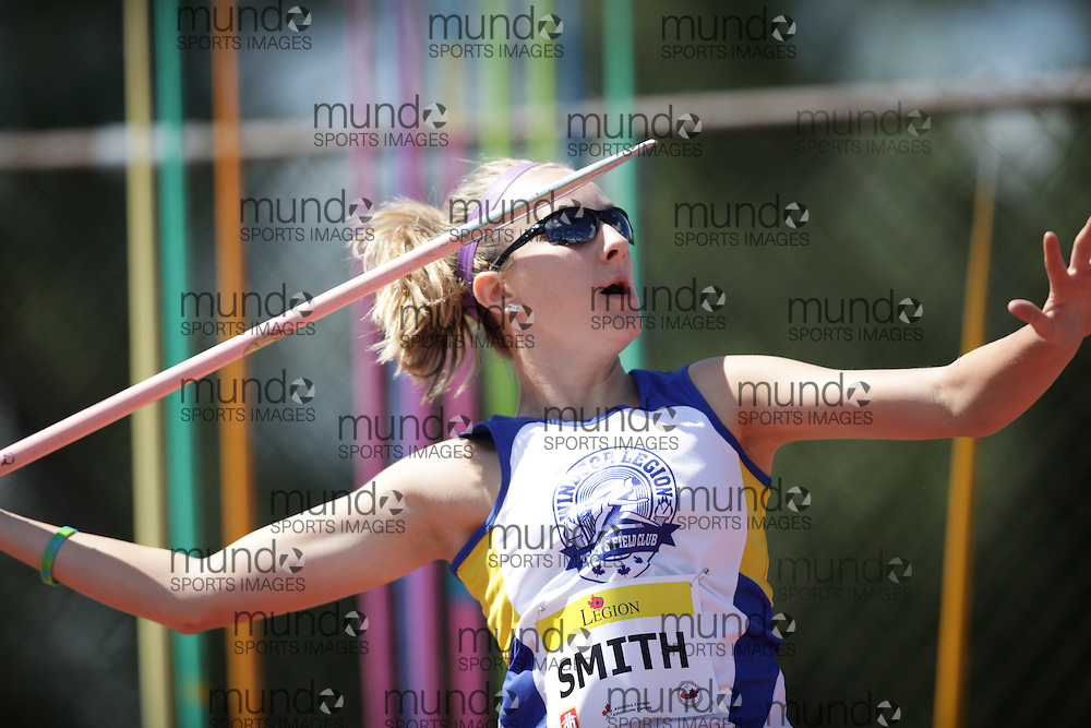 Ottawa, Ontario ---10-08-07--- Smith competes in the javelin at the 2010 Royal Canadian Legion Youth Track and Field Championships in Ottawa, Ontario August 7, 2010..GEOFF ROBINS/Mundo Sport Images.