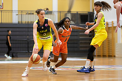 Andjela Delic of ZKK Cinkarna Celje and Aaryn Ellenberg-Wiley of MBK Ruzomberok in action during basketball match between ZKK Cinkarna Celje (SLO) and MBK Ruzomberok (SVK) in Round #6 of Women EuroCup 2018/19, on December 13, 2018 in Gimnazija Celje Center, Celje, Slovenia. Photo by Urban Urbanc / Sportida