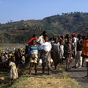 Rwanda - In 1994 more than 800,000 people, mainly Tutsis, were killed in Rwanda in an explosion of ethnic tension with the majority Hutu community. The Death march for refugees on road to hell to go to Kibumba refugee camp, this camp contained over 250,000 people. ©Jean-Michel Clajot