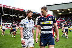 Rhys Priestland (co-capt) of Bath Rugby and Ian Evans of Bristol Rugby talk after Bristol Rugby win 12-11 - Rogan Thomson/JMP - 26/02/2017 - RUGBY UNION - Ashton Gate Stadium - Bristol, England - Bristol Rugby v Bath - Aviva Premiership.