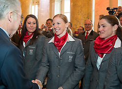 29.01.2014, Hofburg, Wien, AUT, Sochi 2014, Vereidigung OeOC, im Bild Bundespräsident Heinz Fischer, Cornelia Hütter, Regina Sterz, Elisabeth Görgl // Austrians President Heinz Fischer, Cornelia Hütter, Regina Sterz, Elisabeth Görgl during the swearing-in of the Austrian National Olympic Committee for Sochi 2014 at the  Hofburg in Vienna, Austria on 2014/01/29. EXPA Pictures © 2014, PhotoCredit: EXPA/ JFK