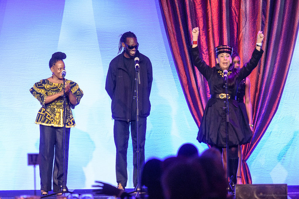 """""""I am Ali"""" is performed by CJ Vanston, Michael Fitzpatrick, Barbara Sexton Smith and members of the The Humanity Passport Project Greater Community Choir at the fourth annual  Muhammad Ali Humanitarian Awards Saturday, Sept. 17, 2016 at the Marriott Hotel in Louisville, Ky. (Photo by Brian Bohannon for the Muhammad Ali Center)"""