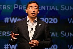 Democratic Presidential hopeful businessman Andrew Yang speaks at the Philadelphia Council AFL-CIO Workers' Presidential Summit, at the Pennsylvania Convention Center in Philadelphia, PA, on September 17, 2019.