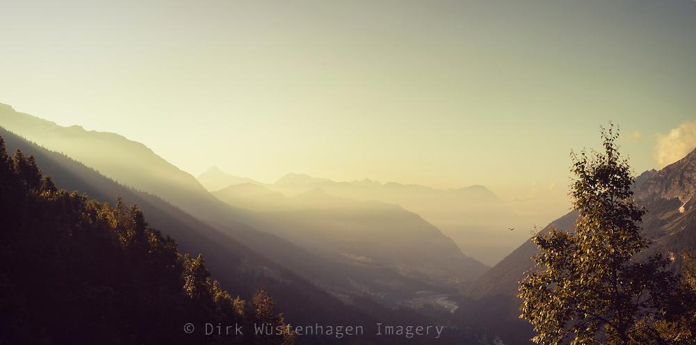 Chiareggio, Valmalenco, Lombardia, Italy - shot from a mountain at sunrise
