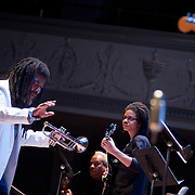 "December 16, 2011 - Brooklyn, NY : Wadada Leo Smith leads ""Wadada Leo Smith's Organic"" as they perform during a concert in celebration of Leo's 70th birthday at Roulette in Brooklyn on Friday night. CREDIT: Karsten Moran for The New York Times"
