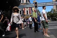 Pedestrians waiting for the green light, corner of Park and Pitt, Sydney, Australia. January 2nd-11th 2007