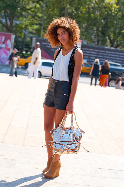 Fashion Blogger in Leather Shorts, Outside Carlos Miele