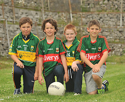 Wearing their colours...Dara O'Neill, Dylan Walsh, Michael Dunning and Jamie Muniz pictured in Kilmaine at the Padraig O'Dea Memorial Cup match on saturday evening last.<br /> Pic Conor McKeown