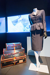 © Licensed to London News Pictures. 31/01/2018. London, UK. A set of luggage owned by Edward, Duke of Windsor and a Christian Dior Day Suit (1949) worn by the the German actress Marlene Dietrichon are on display as part of the Ocean Liners: Speed And Style exhibition at the V & A museum. The exhibits will re-imagine the golden age of ocean travel, exploring the design and cultural impact of the ocean liner on an international scale. Photo credit: Ray Tang/LNP
