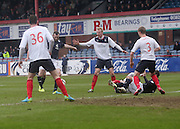 Craig Beattie fires in a shot which hit the post - Dundee  v Falkirk - SPFL Championship at Dens Park<br /> <br />  - &copy; David Young - www.davidyoungphoto.co.uk - email: davidyoungphoto@gmail.com