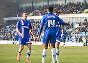 Gillingham forward Dominic Samuel celebrates the second goal which he created (own goal by Crewe defender Jon Guthrie) during the Sky Bet League 1 match between Gillingham and Crewe Alexandra at the MEMS Priestfield Stadium, Gillingham, England on 12 March 2016. Photo by David Charbit.