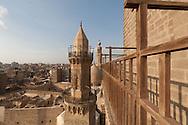 Egypt. Cairo elevated view.  - minaret of BARQUQ mosque. An NASR mohamad minaret , in Al Mu'izz Street, bayn Al KASRAYN area. the old islamic city,  view from the minaret of the madrasa and mausoleum An NASIR Muhammad Ibn QALAWUN . Cairo
