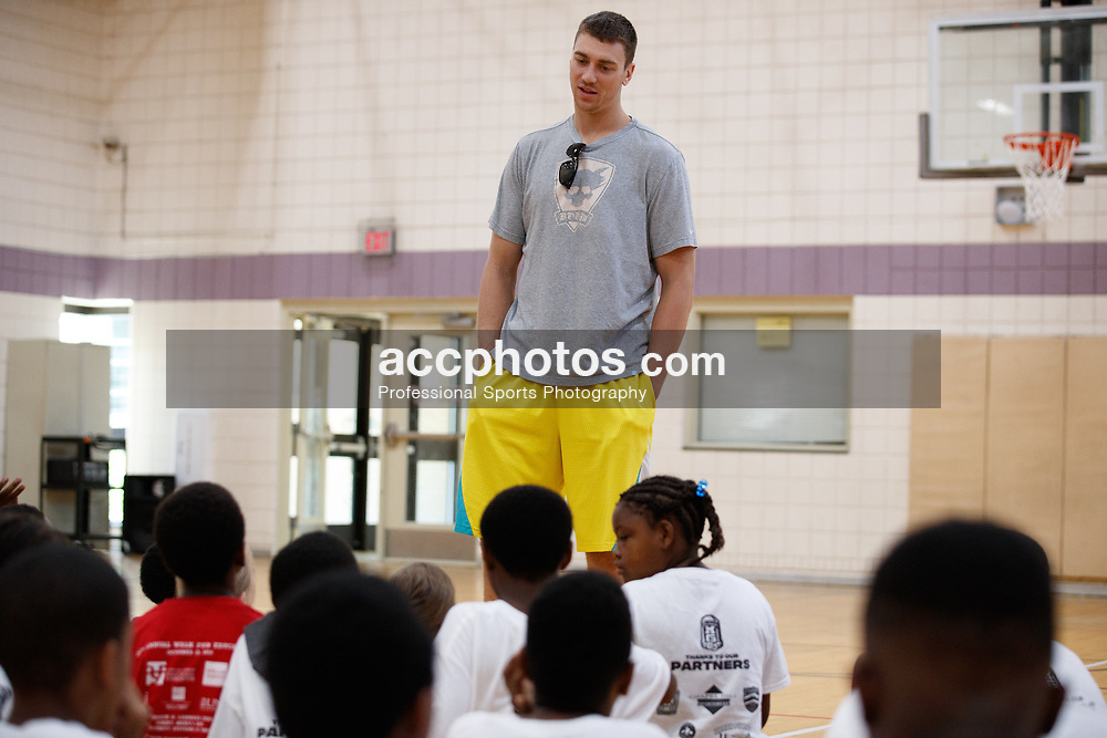 2017 July 08: Tyler Hansbrough at the Marcus Ginyard basketball camp Chapel Hill Community Day at Hargraves Community Center in Chapel Hill, NC. (Photo by Peyton Williams)