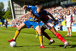 Bryn Morris of Shrewsbury Town takes on Joe Aribo of Charlton Athletic - Mandatory by-line: Robbie Stephenson/JMP - 13/05/2018 - FOOTBALL - Montgomery Waters Meadow - Shrewsbury, England - Shrewsbury Town v Charlton Athletic - Sky Bet League One Play-Off Semi Final