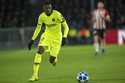 November 28, 2018 - Eindhoven, Netherlands - Ousmane Dembele of Barcelona controls the ball during the UEFA Champions League Group B match between PSV Eindhoven and FC Barcelona at Philips Stadium in Eindhoven, Netherlands on November 28, 2018  (Credit Image: © Andrew Surma/NurPhoto via ZUMA Press)