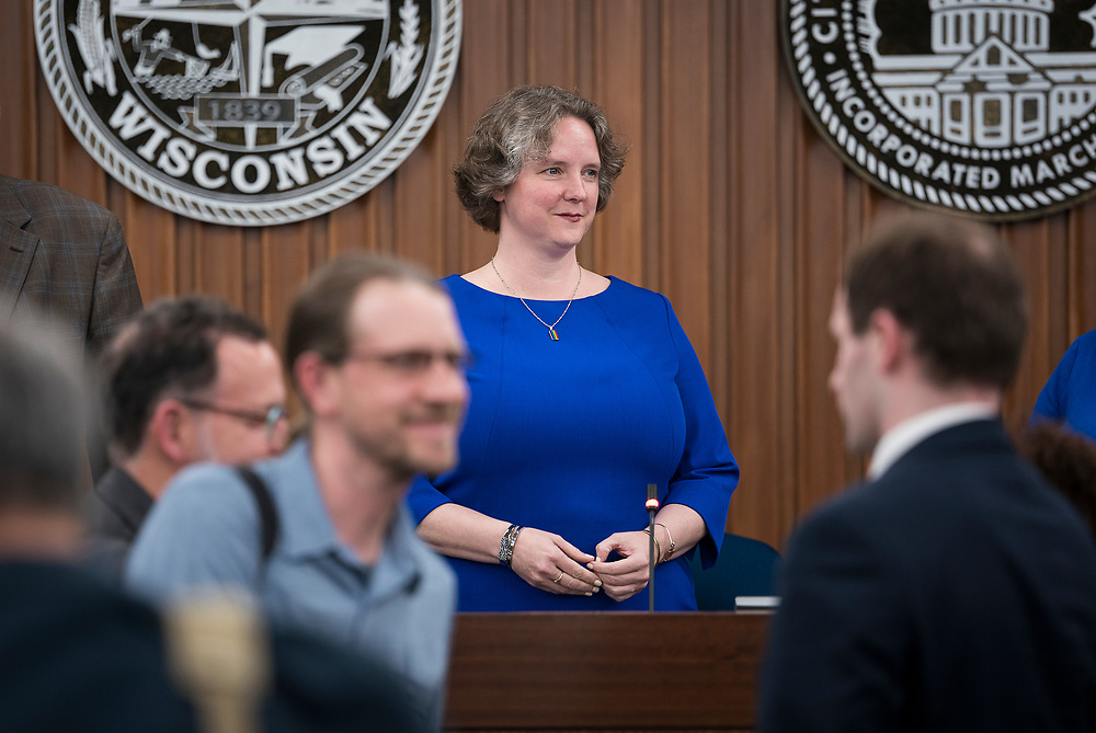 Madison Mayor Satya Rhodes-Conway looks on as newly elected Alders take their seats at the City County Building in Madison, WI on Tuesday, April 16, 2019.