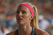 Sandi Morris, USA, Women's Pole Vault, during the Diamond League Meeting at Stade Charlety, Paris, France on 24 August 2019.