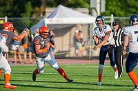 KELOWNA, BC - AUGUST 3:  Cory McCoy #54 of Okanagan Sun runs in to tackle quarterback Nicolas Nica  #12 of Kamloops Broncos at the Apple Bowl on August 3, 2019 in Kelowna, Canada. (Photo by Marissa Baecker/Shoot the Breeze)