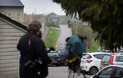 © Licensed to London News Pictures. 24/03/2017. London, UK. Photographers and TV news crews wait outside Erlestoke prison after the Appeal Court announced that it's decision on Sgt Alexander Blackman's sentence for manslaughter iwill be delayed until next week. Sgt Blackman's life sentence for the murder of a wounded Taliban fighter in Afghanistan in 2011 was reduced to manslaughter on appeal. Photo credit: Peter Macdiarmid/LNP