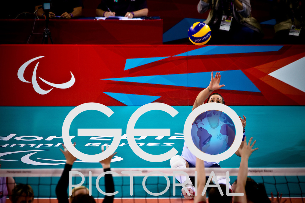 Samantha Bowen (no.4) in action during the GBR vs JPN sitting volleyball preliminary rounds during the London 2012 Paralympic Games; 2nd September 2012;