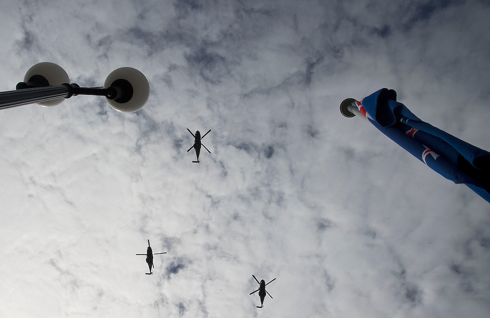 An Air Force fly over by helicopters at the State Opening of Parliament, Wellington, New Zealand, Tuesday, October 21, 2014. Credit: SNPA / Marty Melville